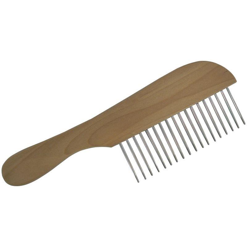Grand peigne manche bois à denture métal et à dent très longue pour chiens à fourrure très dense