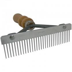 Peigne Râteau - denture métal manche bois - Élimine le poil mort - pour chien