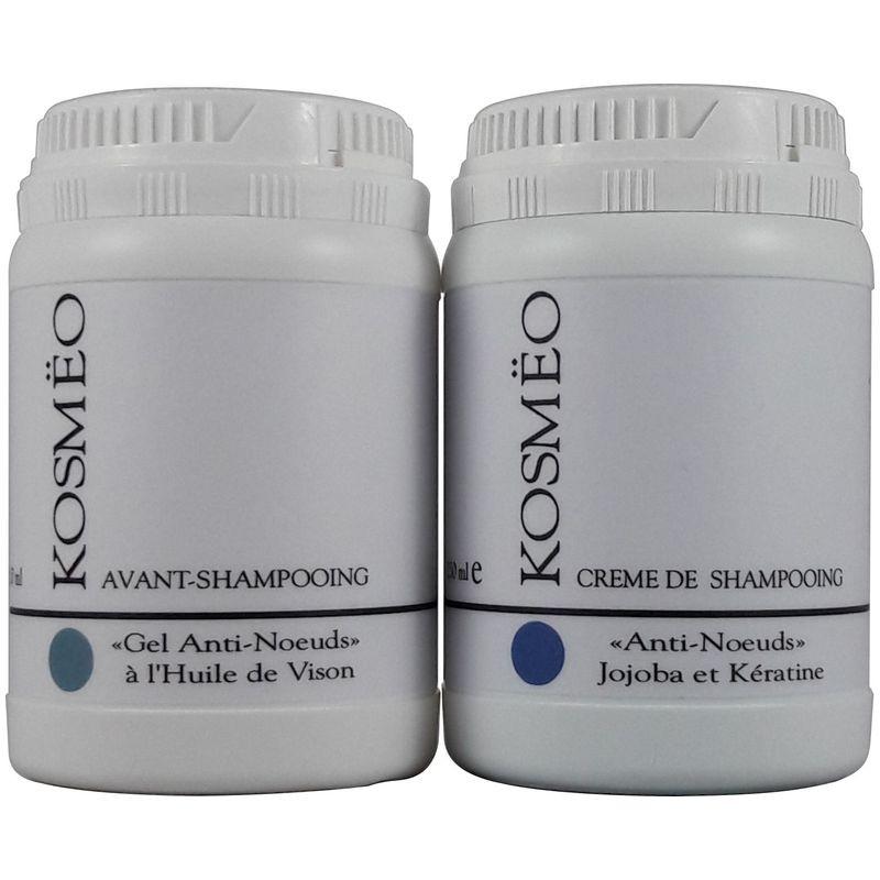 DUO 1 gel anti-noeud + crème de shampooing - pour chien, chat, chiot, chaton - Kosmeo