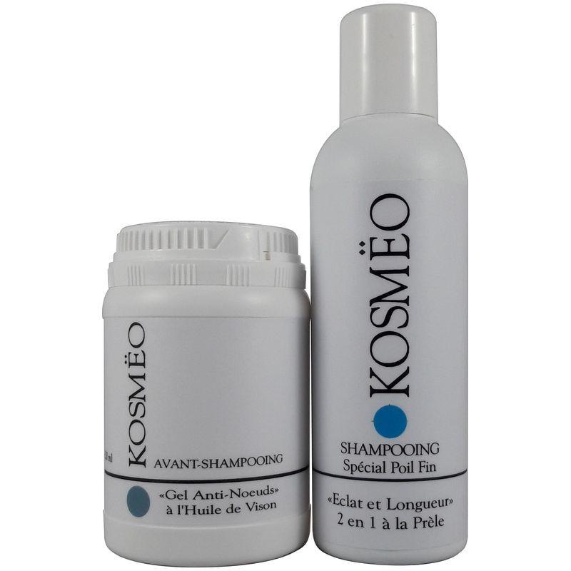 DUO 5 gel anti-noeud + Longueur et Eclat - Pour tous les poils fins longs ou courts - pour chien - chat - KOSMEO