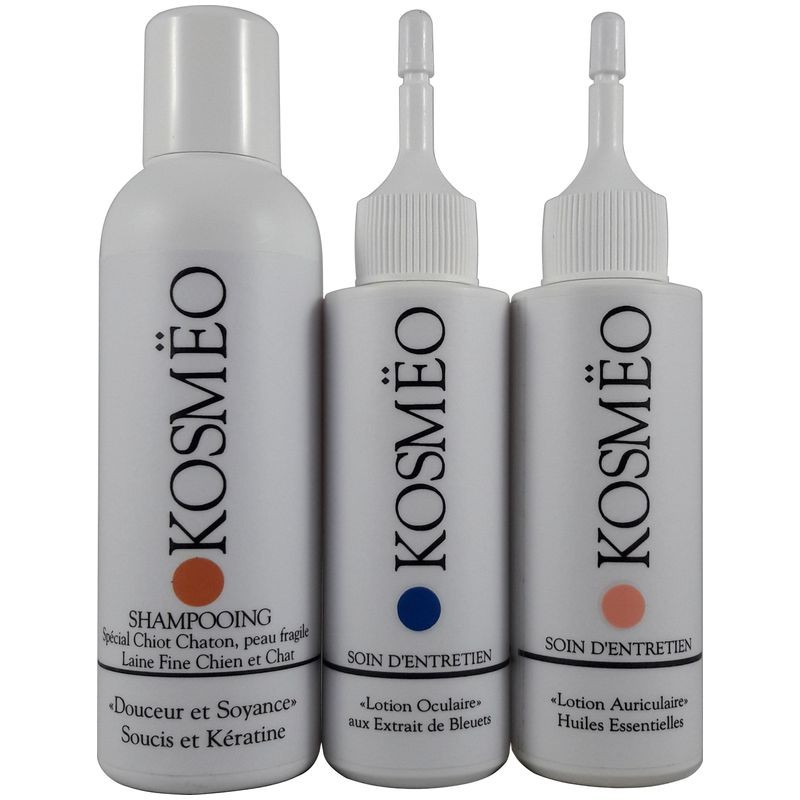 KIT 1er âge Chiot Chaton - Shampooing Douceur et Soyance + lotion oculaire + lotion auriculaire - chien - chat - KOSMEO